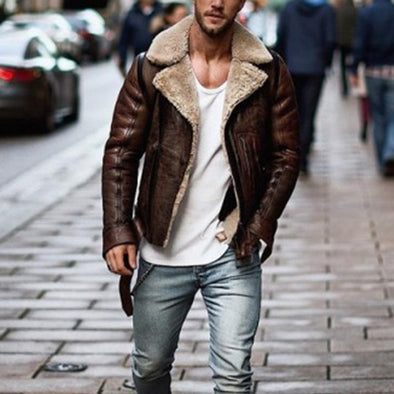 Winter Streetwear Leather Jacket Biker Motorcycle Zipper Coat