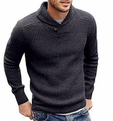 Cowl neck knitted men sweater pullove