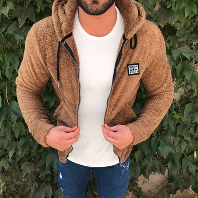 Men Suede Casual Zipper Sweatshirt Loose hoodie