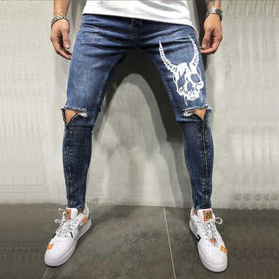 Men Spring Ripped Hole Pants
