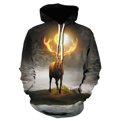 Domineering lion tiger hoodie 3D digital printing Tiger Wolf boy jacket leisure