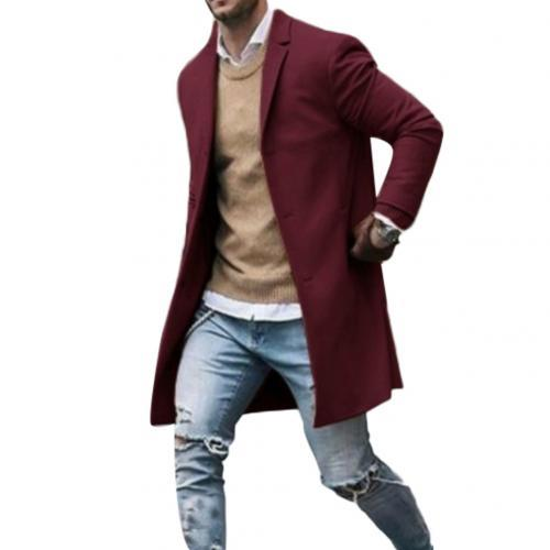 Fashion Men Trench Winter Solid Color Trench Coat