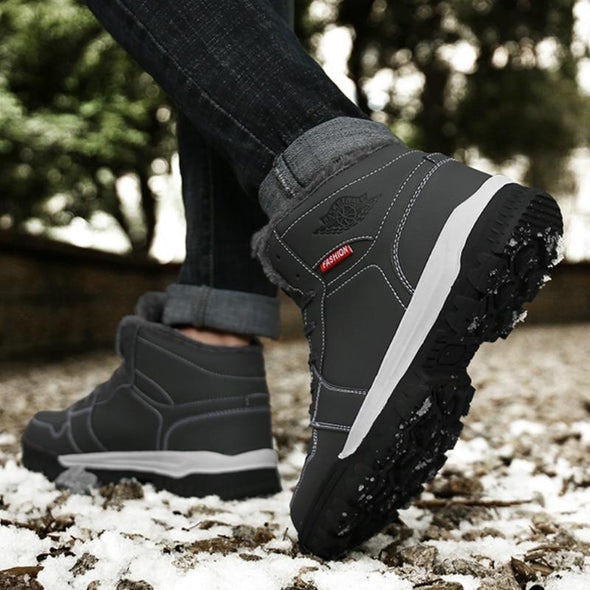 Men Outdoor Shoes Winter Leather Warm Ankle Snow Boots Men Hiking