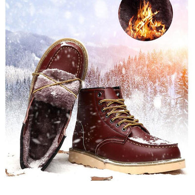 Leather Oxford Vintage Fashion Lace-up Winter Warm Boots For Men