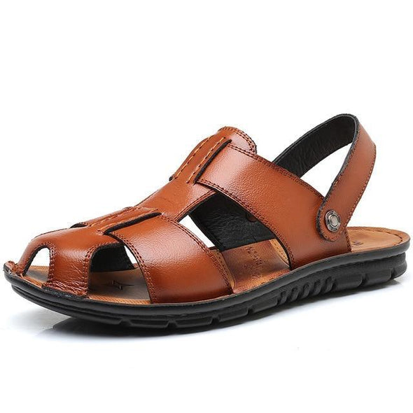 Plus  Size Men's Summer  Genuine Leather Beach Slippers