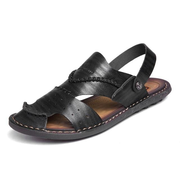 Mens Breathable Genuine Leather Sandals Casual Beach Slippers
