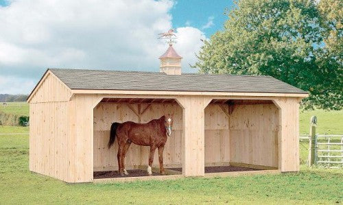 Pine Board & Batten Run-In Horse Barn