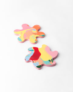 Spin & Splat coasters - pink base