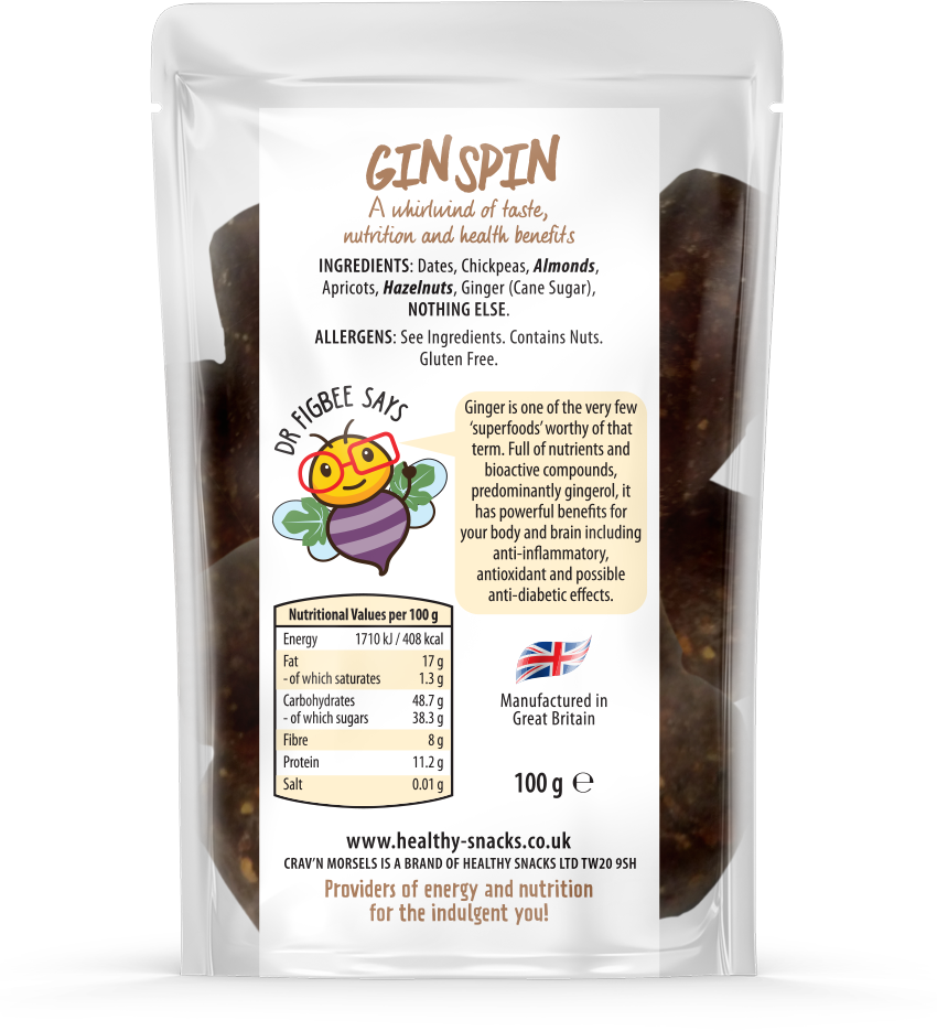 GIN SPIN - Ginger Energy Bites 100g - Healthy Snacks Ltd
