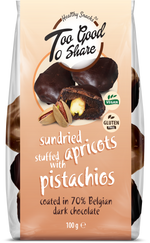 Sundried Apricots stuffed with Pistachios & covered in 70% Belgian Dark Chocolate 100g - Healthy Snacks Ltd