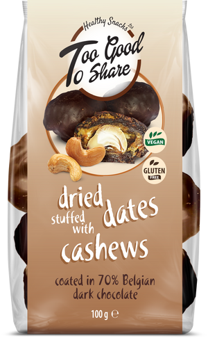 Dried Dates stuffed with Cashews & covered in 70% Belgian Dark Chocolate - Healthy Snacks Ltd