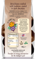 Dried Dates stuffed with Cashews & covered in 70% Belgian Dark Chocolate 100g - Healthy Snacks Ltd