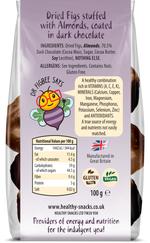 Dried Figs stuffed with Almonds & covered in 70% Belgian Dark Chocolate - Healthy Snacks Ltd