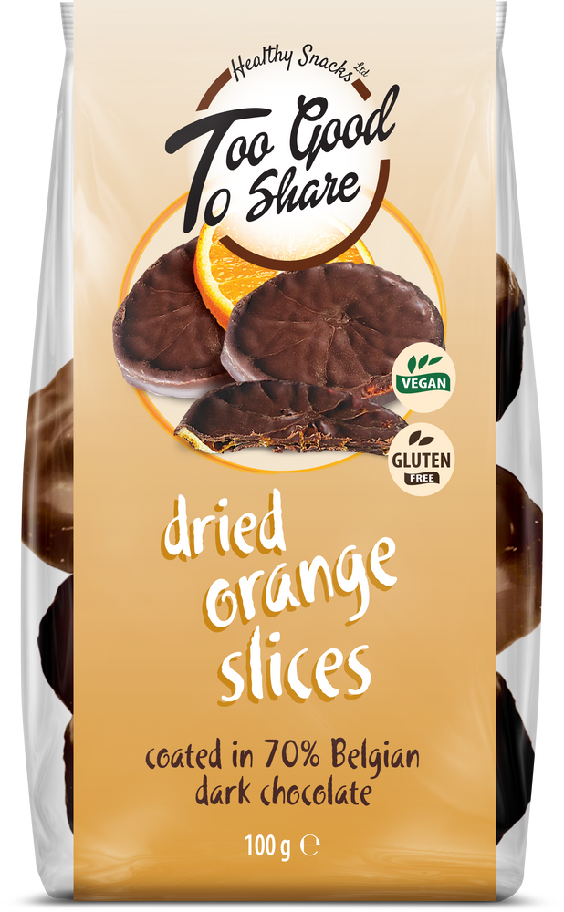 Dried Orange Slices covered in 70% Belgian Dark Chocolate 100g - Healthy Snacks Ltd