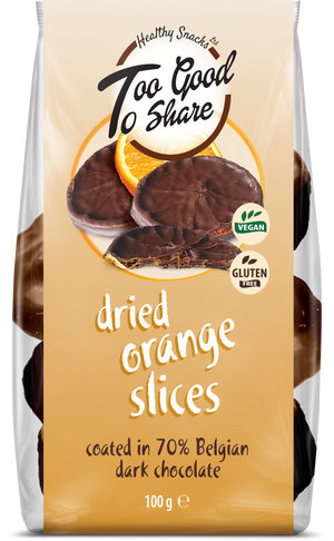 Load image into Gallery viewer, Dried Orange Slices covered in 70% Belgian Dark Chocolate - Healthy Snacks Ltd