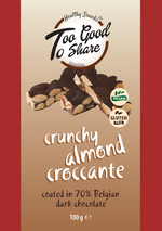 Crunchy Almond Croccante covered in 70% Belgian Dark Chocolate 100g - Healthy Snacks Ltd