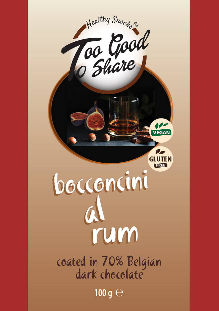 Load image into Gallery viewer, Bocconcini al Rum covered in 70% Belgian Dark Chocolate 100g - Healthy Snacks Ltd