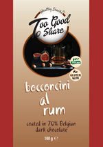 Bocconcini al Rum covered in 70% Belgian Dark Chocolate 100g - Healthy Snacks Ltd
