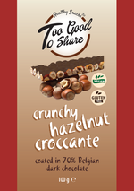Crunchy Hazelnut Croccante covered in 70% Belgian Dark Chocolate 100g - Healthy Snacks Ltd