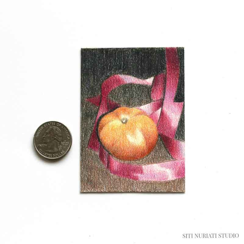 Tomato and Ribbon ACEO Original Painting