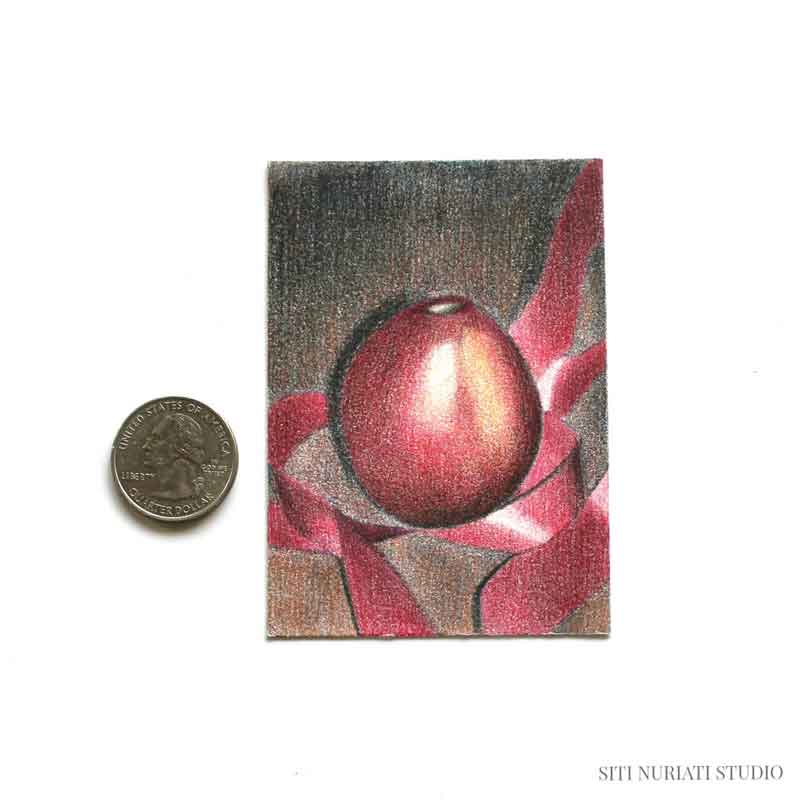 Pear and Ribbon ACEO Original Painting