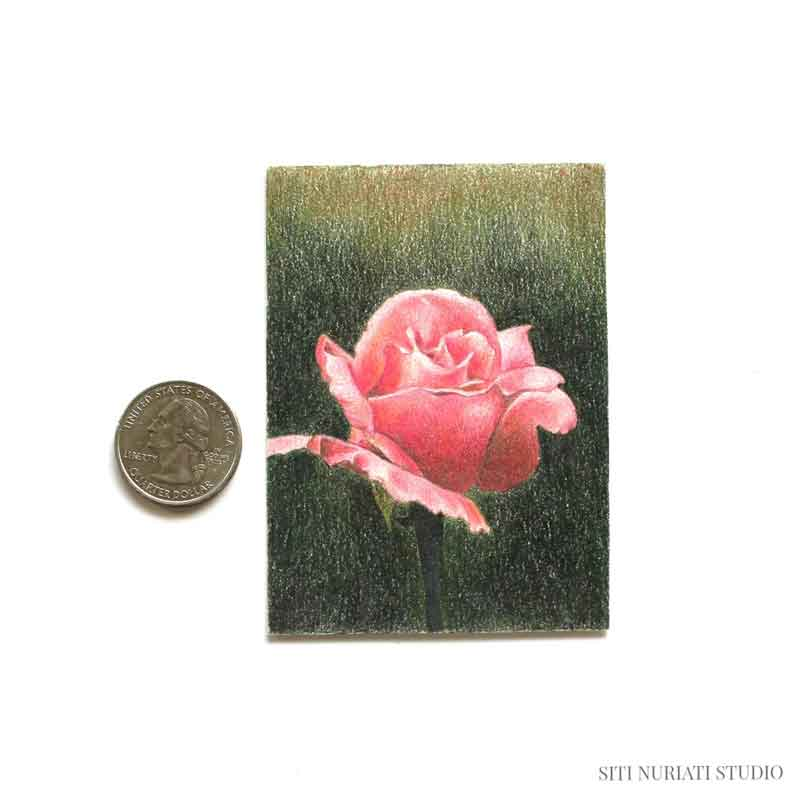 Dark Pink Rose ACEO Original Painting