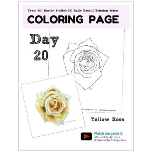 Bloomed Yellow Rose Coloring Page