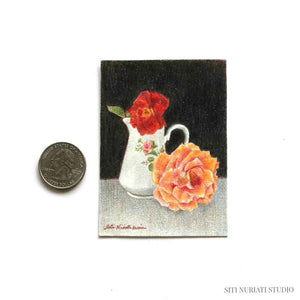 Flowers at Breakfast ACEO Original Painting