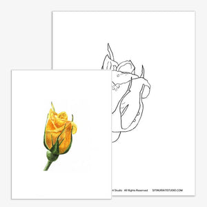 Yellow Rose Bud Coloring Page