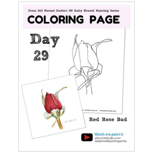 Red Rose Bud Coloring Page