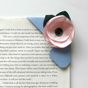 Pink Poppy Corner Bookmark