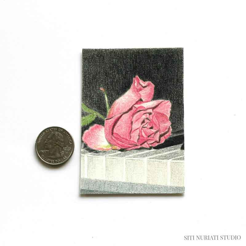 Rose on Piano ACEO Original Painting