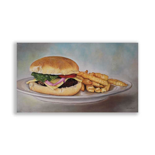 Beef Burger and Fries Original Painting