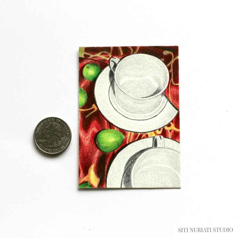 Tea Cups and Limes ACEO Original Painting