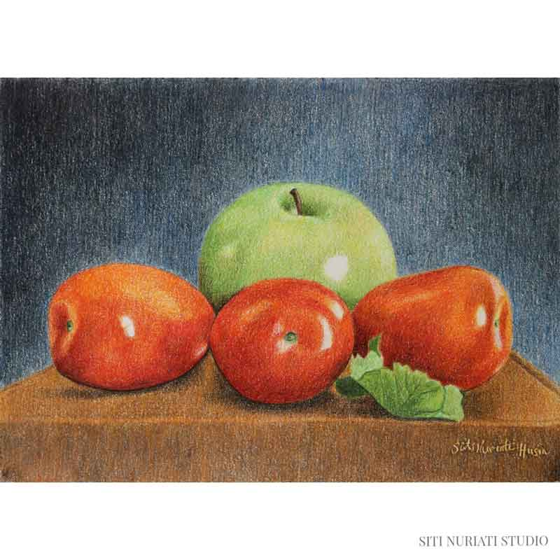 Green Apple and Tomatoes Original Painting