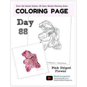 Pink Striped Flower Coloring Page