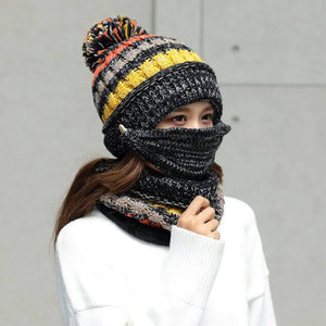 3-Piece Winter Knitted Beanie Mask Scarf Set