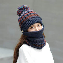 Load image into Gallery viewer, 3-Piece Winter Knitted Beanie Mask Scarf Set