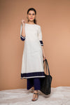 Color- block A-line Kurta in Off white handloom cotton with cotton Palazzo in Midnight blue (Set of 2)