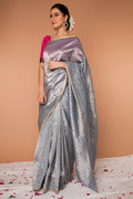 Handwoven Zari Sari in Silver & Gold