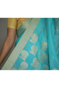 Mercerized Silk Saree in Diamond Blue