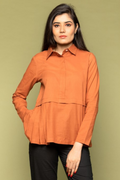 Terracotta Brown Half Pleated Cotton Top