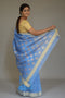 Mercerized Silk Saree in Crystal Blue
