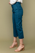 Cropped Cotton Pants in Teal Blue