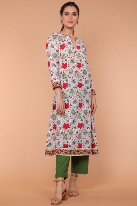 A-line, Hand Block Printed Kurta in with loose fit Palazzo in fern green (Set of 2)