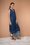 Navy Blue Cotton Kurta With Asymmetric Hem & Tassels