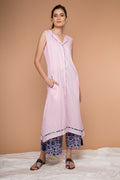 Blush Pink Cotton Kurta With Asymmetric Hem & Tassels