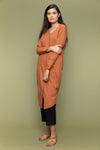 Cotton Kurta with Stylised V-Neck in Terracotta Brown and Cotton Pants in Black (Set of 2)