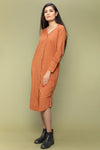 Cotton Dress with Stylised V-Neck in Terracotta Brown