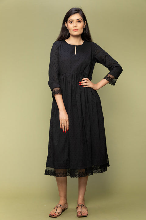 Black Textured Cotton Dress with Lace Trims